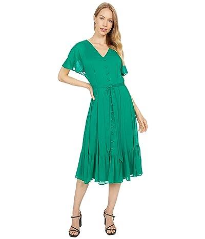 Calvin Klein Button Front Ruffle Sleeve Dress with Self Tie Belt Women