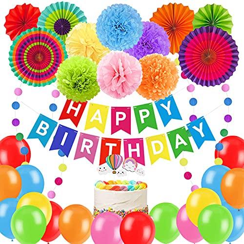 Decoracion Cumpleaños specool Globos de Cumpleaños de Colores,  Abanicos Colores, Guirnaldas de Papel,  Pom Poms,  Decoración para Tartas para Carnaval Bebé Ducha Cumpleaños Baby Shower