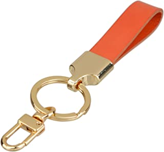 Richbud Full Grain Leather Gold Key Ring Lobster Swivel Keychain Fob (Orange)