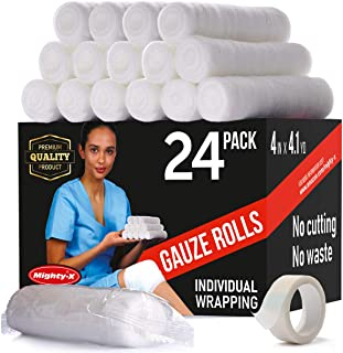 Premium Gauze Roll - 24 Pack - FDA Approved Gauze Bandage Roll (4 inches x 4.1 Yards) - Latex Free Rolled Gauze - Gauze Wrap + Bonus Medical Tape