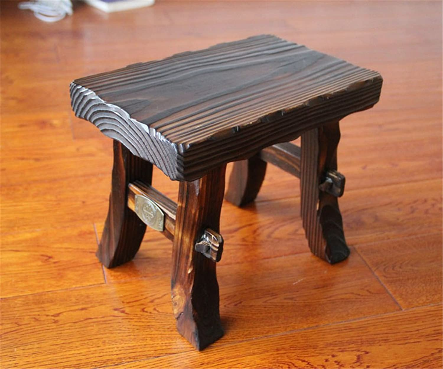 Household Solid Multifunctional Wooden Kids Adult Square Stool Anticorrosive, Retro Wood color,1