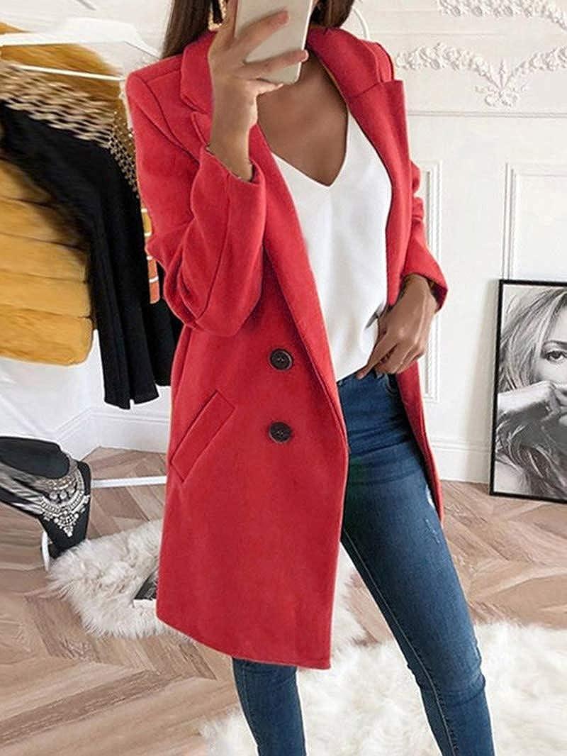 Onsoyours Damen Blazer Winter Mantel Elegant Warm Wintermantel Steppmantel Knopf Klassische Vintage Zweireihig Revers Schlack Slim Fit Trenchcoat mit Taschen Rot