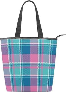 ISAOA Große Einkaufstasche aus Segeltuch, Rosa kariert, Handtasche Strand Tote Bag für Mädchen Frauen