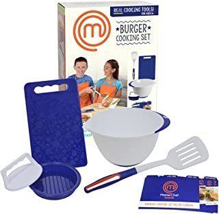 MasterChef Junior Burger Cooking Set - 5 Pc. Kit Includes Real Cooking Tools for Kids and Recipes