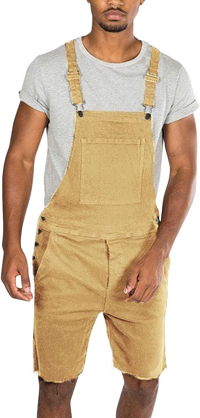 Flygo Men's Denim Bib Overall Shorts Above Knee Length Jean Shortalls Walkshort with Pockets