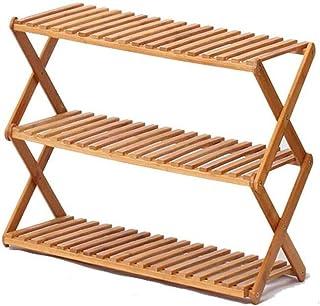 ZXJshyp Multi-Layer Foldable Shoe Organiser Shelf Storage Rack Flower Stand, Shoe Rack Bamboo Living Room Office Kitchen O...