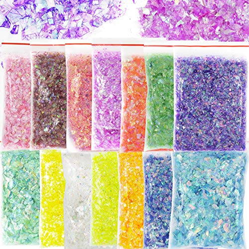 Bellelfin 14 Colors Resin Chunky Glitter Flakes Irregular Iridescent Sparkles Glitters Confetti Craft Supplies for Epoxy/Tumblers/Slime, Nail Art Design
