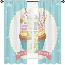 Lot de 2 rideaux occultants motif licorne assis sur un cupcake avec dessin animé sur le thème de l'anniversaire - 254 x 21...