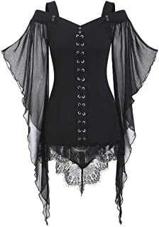 Aniywn Women Gothic Sexy Skirt Dress Lace Strappy Ruffle Club Dress Halloween Cold Shoulder T-Shirt Tops