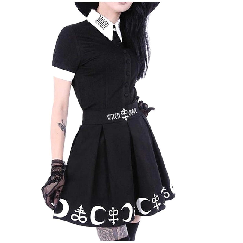 Candiyer 女性のシャツ高ウエストボタンアップスカートは2ピース衣装ドレスを設定