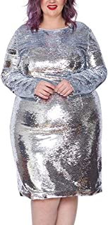 Astra Signature Women's Plus Size Glitter Long Sleeve Bodycon Andromeda Sequin Dress