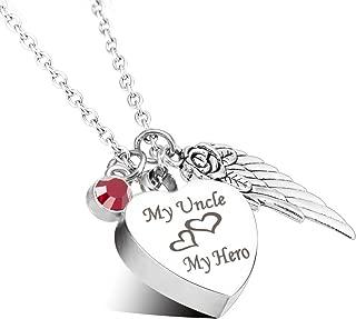 Cremation Urn Jewelry My Uncle My Hero Angel Wings Birthstone Charms Memorial Ash Keepsake Necklace