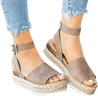 73676f6ba029 Athlefit Women s Platform Sandals Espadrille Wedge Ankle Strap Studded Open  Toe Sandals