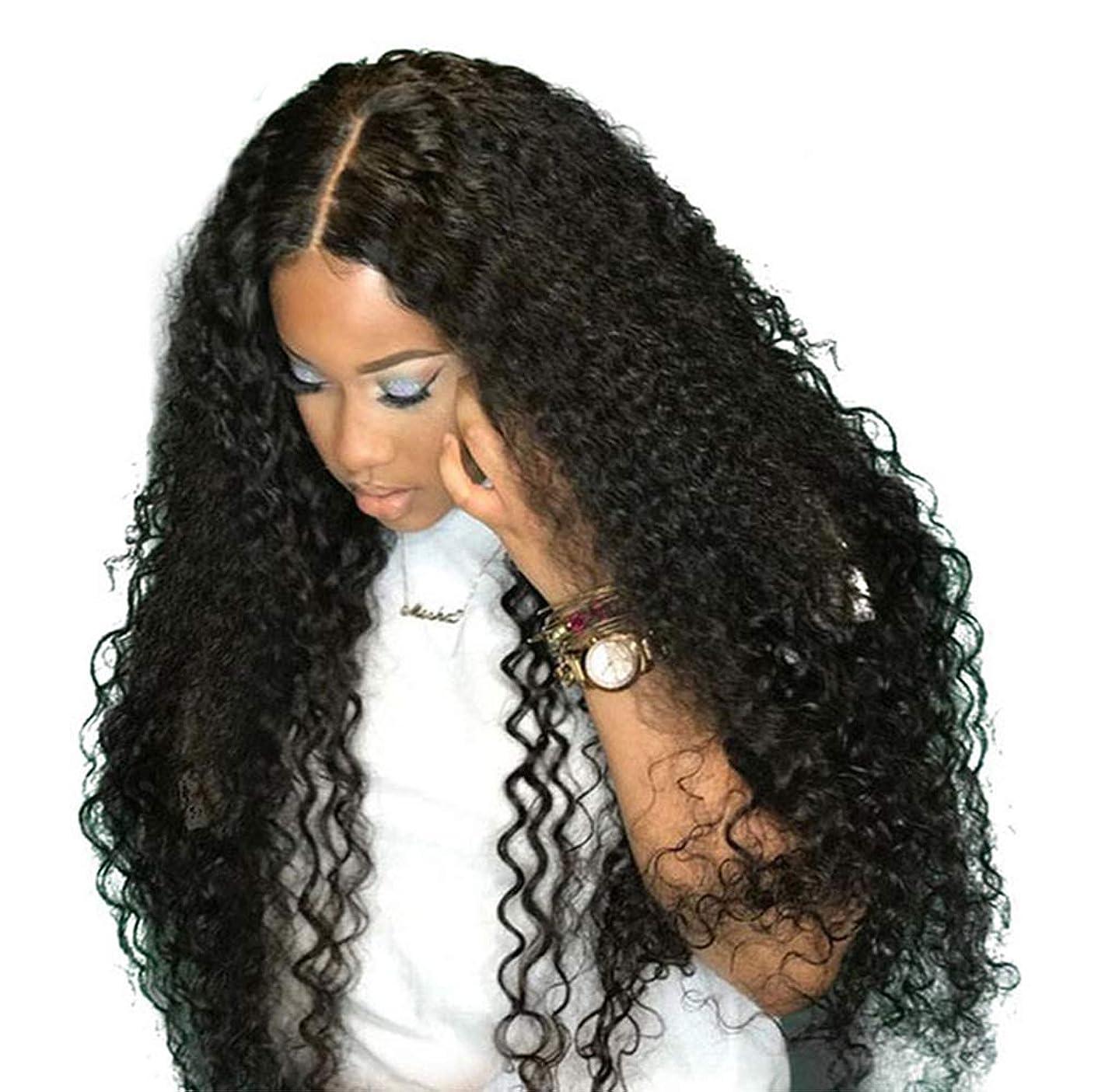 ラベ傾向がありますランプブラジルレースかつらカーリーウェーブグルーレスレースかつら前頭かつら女性130%密度ブラジルカーリー人間の髪の毛黒26インチ