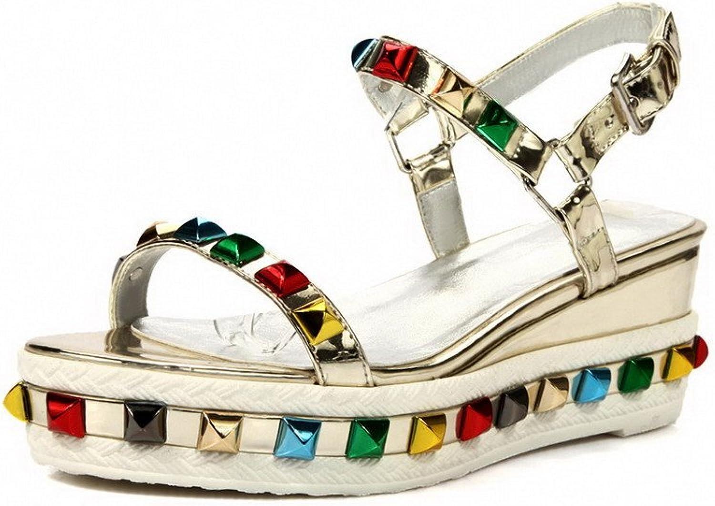 AmoonyFashion Women's Kitten Heels Soft Material Solid Buckle Open Toe Sandals