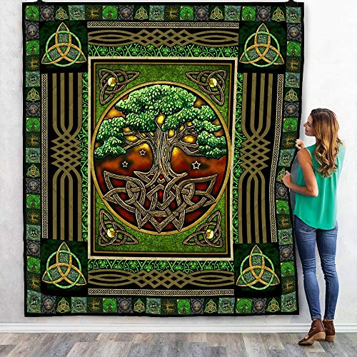 Irish Tree of Life Quilt, Fleece Blanket, Bedding Set The Celtic Knot Patrick's Day Gifts from Mom, Dad, Son, Daughter, Grandma, Grandpa for Winter Bed Throw, Quilt Super King 90 x 100 inches