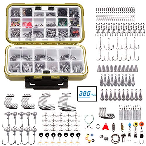Pheanto 385PCS Fishing Accessories Kit Set Including Jig Hooks, Off Set Hook,Drop Shot Hook, Treble Hook, Bullet Bass Casting Sinker Weights,Fishing Line Beads with Tackle Box,PJHX-2