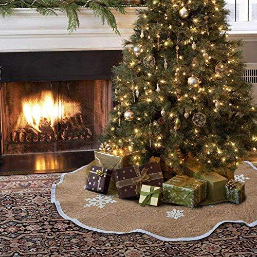 ZB Weihnachtsbaumrock 121,9 cm rustikale Baumröcke weiße Schneeflocke gedruckt Weihnachtsdekorationen Indoor Outdoor