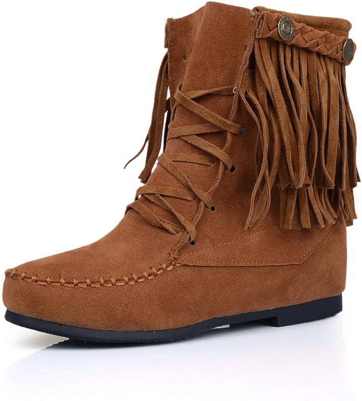 BalaMasa Womens Fringe Solid Travel Urethane Boots ABL10751