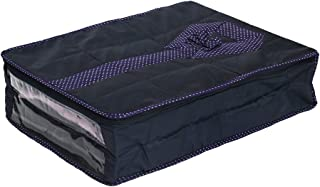 Inditradition Large Size Shirt Cover (Soft Cotton Parachute Material) - Pack of 01 Cover (Capacity 6 to 8 Shirts) Blue Color with Textured Dotted Border - SHC01