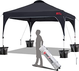 MasterCanopy Patio Pop Up Commercial Canopy 10x10 Beach Canopy Better Air Circulation Canopy with Wheeled Backpack Carry Bag (Black)