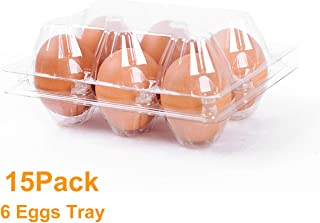 6 Count Egg Cartons Cheap Bulk 15 Pack,100% Recyclable Plastic Egg Carton Stackable for Refrigerator,Plastic Clear Egg Trays for Medium or Small Eggs