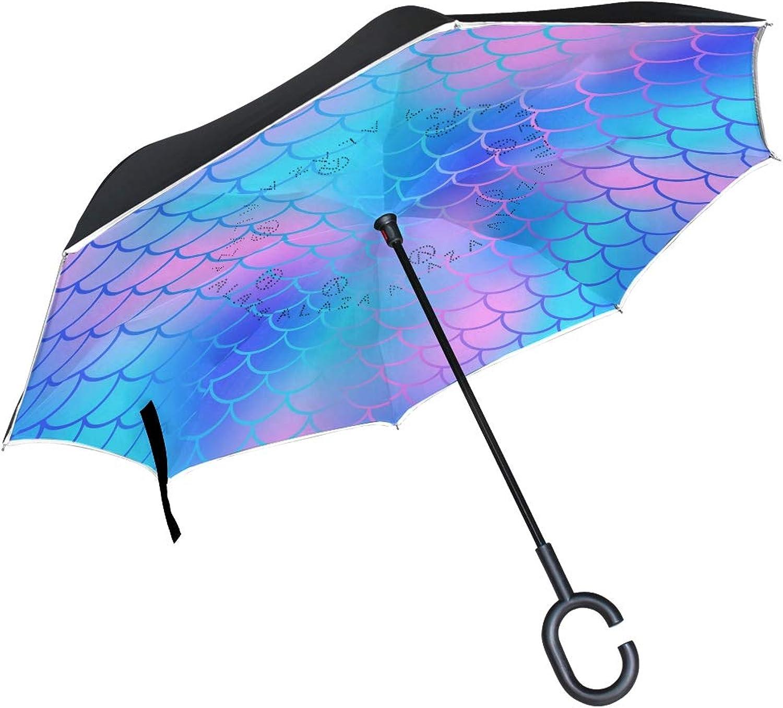 ATZUCL Beautiful Mermaid Scale Reverse Umbrella with CShape Handle Car Ingreened Windproof Rain Umbrella Outdoor Travel Umbrella