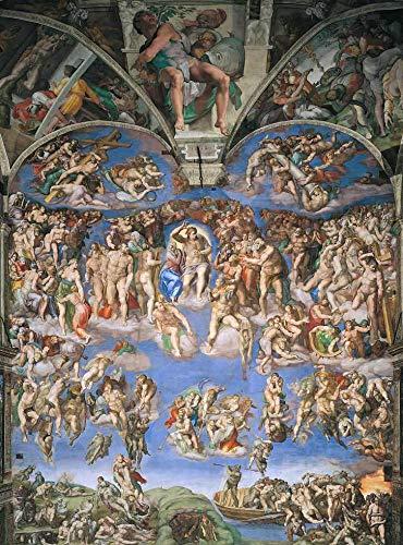 O Juízo Final (Completo) de Michelangelo - 60x80 - Tela Canvas Para Quadro