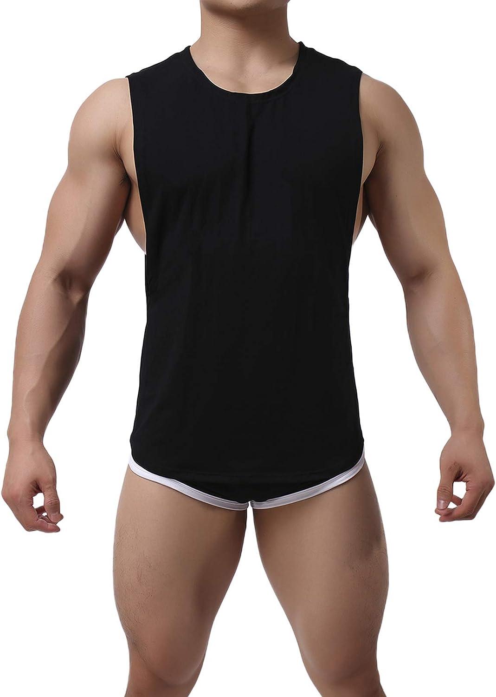 Men's Sleepwear Sleeveless Tank Top and Shorts Set Summer Gym Athletic Muscle Workout Tracksuit Pajamas Underwear