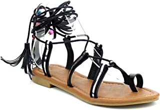 Women's Lace Up Gladiator Flat Sandal Casual Dress Low Flat Heel Ankle Strap Toe Ring Summer Shoes KM02