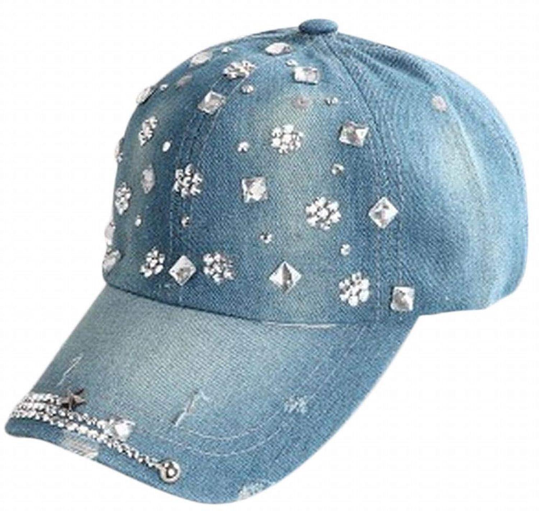 Plus Nao(プラスナオ) レディース デニムキャップ 帽子 ジーンズ スタッズ ラインストーン ダメージ加工 ウォッシュ加工 カジュアルファッ