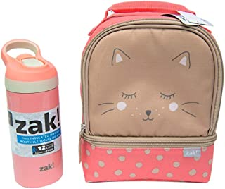 Zak Designs Soft Lines - Two Compartment Insulated Lunch Bag and Water Bottle Set; Zipper Opening, and Inner Pocket Design is Perfect for School Kids (Kitties, BPA-Free, 2pc Set)