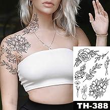 Handaxian Etiqueta engomada del Tatuaje a Prueba de Agua Black Rose Design Tatoo Flower Arm Body Art Large Large Tattoo Sticker Women-3PCS