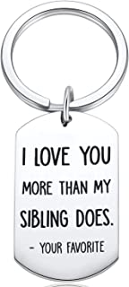 I Love You More/Your Favorite Funny Keychain Best Mom & Dad Christmas Gifts Parents Gag Xmas Present Idea From Daughter, Son, Kids Novelty Birthday Valentine's Day Gift