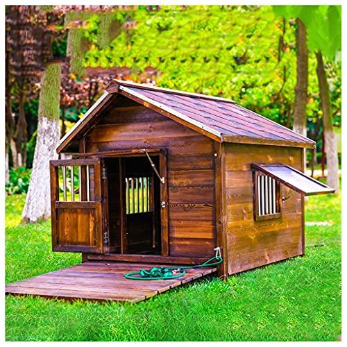 TYX Casa Perros Madera, Casetas Perros Exteriores Refugio Perros Jaula Perros Impermeable, Cabaña Troncos Mascotas Perros Pequeños Gatos,105×77×87cm