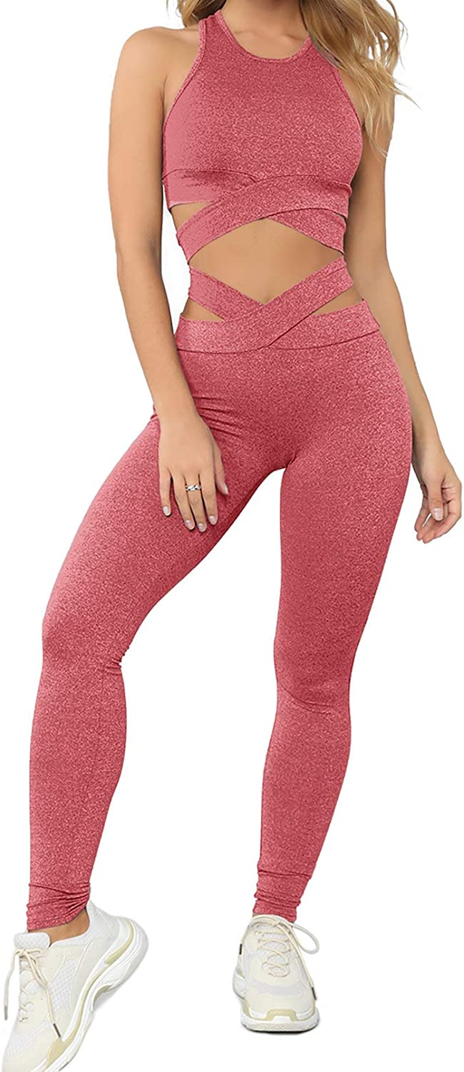 Aleumdr Women Criss Cross Bandage High Waisted 2 Piece Outfits Yoga Leggings with Sports Bra Tracksuit