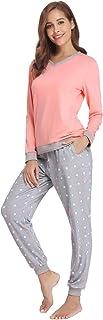 Pijama Mujer Algodón 2 Piezas Set V-Cuello Conjunto de Pijamas de Manga Larga Jogging Estilo Ropa de Dormir (XL=EU(46-48), Naranja)