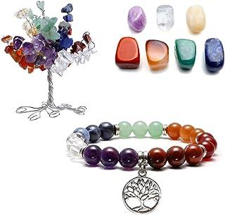 QGEM - Árbol de la vida para decoración, incluye 7 piedras chacra irregulares y una pulsera de piedra natura...