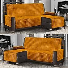 Banzaii Funda de Sofá Cubre Chaise Longue Acolchada Lisa 3 Plazas (240 cm) con Chaise Longue Izquierda/Derecha Amarillo