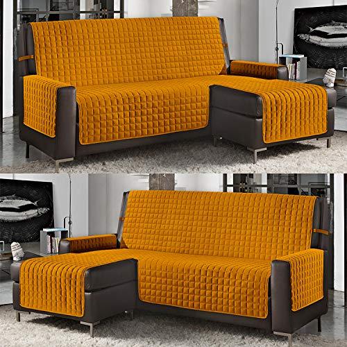 Banzaii Funda de Sofá Cubre Chaise Longue Acolchada Lisa 2 Plazas (190 cm) con Chaise Longue Izquierda/Derecha Amarillo