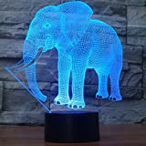 Novelty Elephant 3D Illusion Lampe Led Nachtlicht mit 7 Farben Flashing & Touch-Schalter USB Powered...
