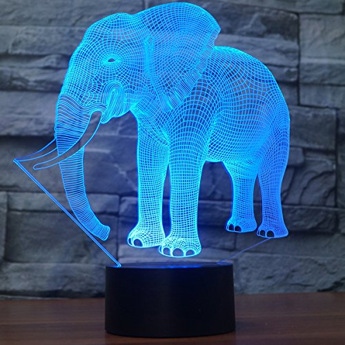Elephant 3D Illusion Lamp Led Night Light, USB Powered 7 Colours Flashing Touch Switch Bedroom Decoration Lighting for Kids Christmas Gift