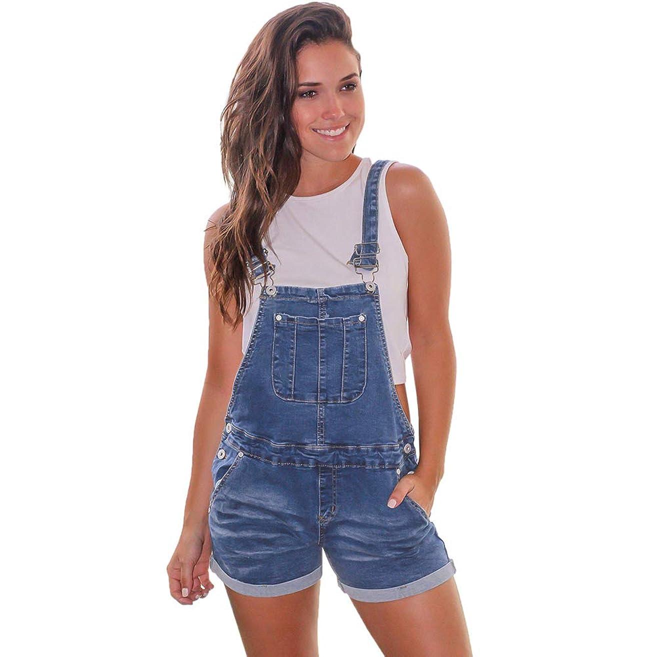 Scioltoo Girl Cute Denim bib Overall Pants Classic Work Stretch Shorts