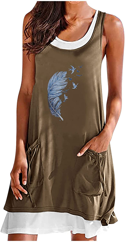 ManxiVoo Womens Patchwork Round Neck Feather Print Knee-Length Tank Dress Fake Two Piece Pocket Short Dress