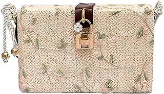 Wultia - 2019 New Arrival Woman Retro Shoulder Bag Fashion Straw Small Square Shoulder Diagonal Package Beach Bags Bolsa Feminina White