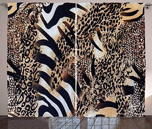 HANTAODG Verdunkelungsvorhang Ösen 2Er Set Zebra-Leopard 280 X 250cm Schlafzimmer Gardinen Blickdicht - Vorhang Blickdicht Vorhänge Kinderzimmer Thermo Gardinen Licht Blockieren Ösenschal