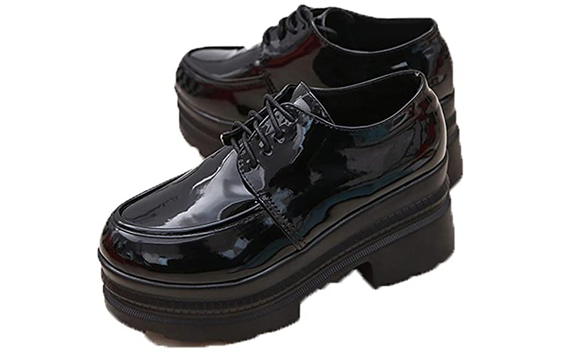 ヘロイン幽霊黒人[YINUO] イダク レディース 厚底靴 皮靴 イギリス風 PUエナメル調 防水性 ロリータ靴 可愛い 厚底靴