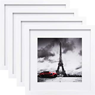 Egofine 11x11 Picture Frames 4 PCS, Display Pictures 4x4/8x8 with Mat Made of Solid Wood for Table Top Display and Wall Mounting Square Photo Frame White