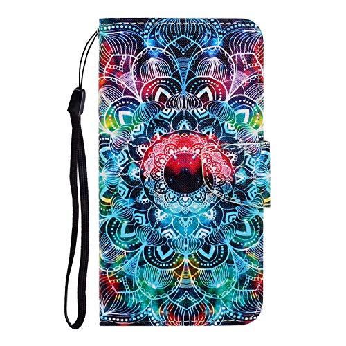 Nadoli für iPhone 11 Pro Hülle,Mandala Blume Muster PU Leder Magnetisch Flip Brieftasche mit Handschlaufe Kartenslot Ständer Klapphülle für iPhone 11 Pro