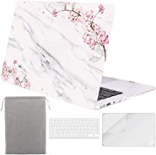 Sykiila for MacBook Air 11 Inch Case Hard Cover 4 in 1 HD Screen Protector & TPU Keyboard Cover & Sleeve Protective Folio Case for Model A1370 / A1465 - Floral White Marble